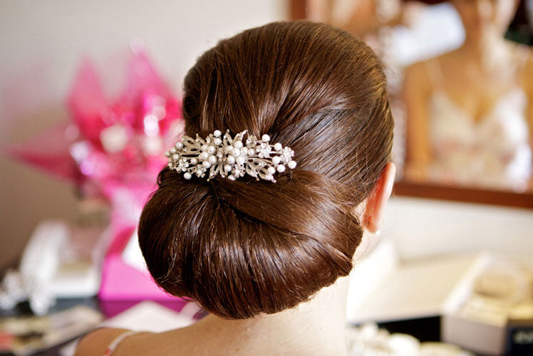 An elegant updo with the finishing touch provided by Pearls of Extravagance Large Hair Comb