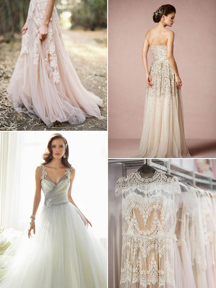 Pink, neutral and grey coloured wedding dresses