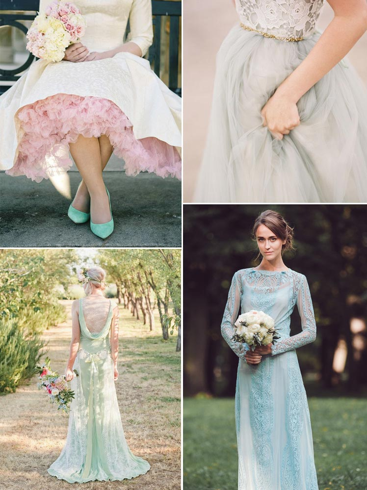 Mint, pale blue and rose bridal gown ideas