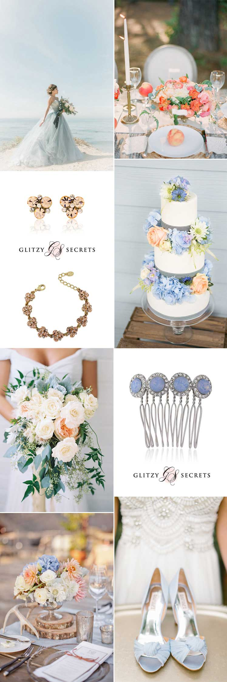 Romantic soft peach and blue wedding colour scheme ideas