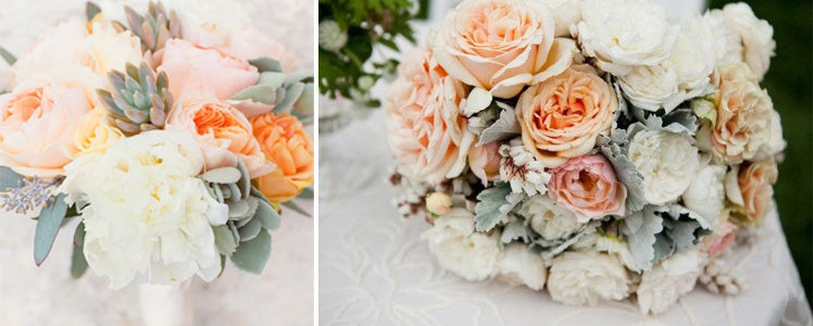Elegant peach and grey peony wedding bouquets