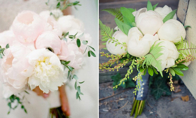 Add a green base to your peony wedding bouquet