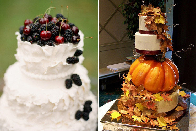 Berry and Pumpkin Autumn wedding cakes
