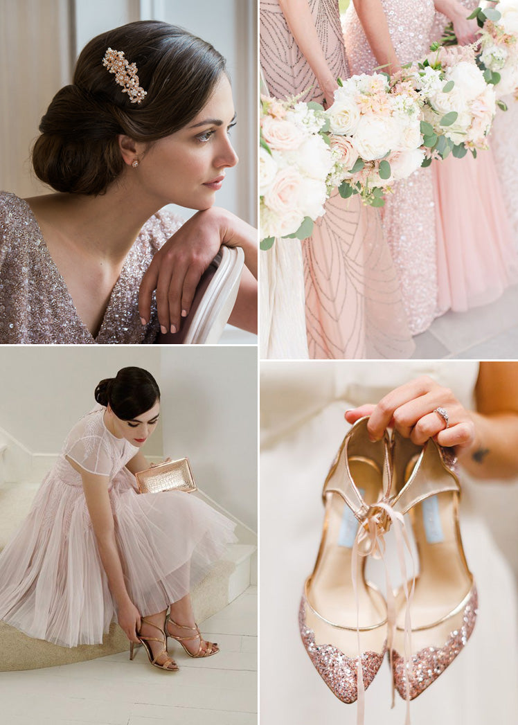 Rose gold bridal accessories for a winter wedding