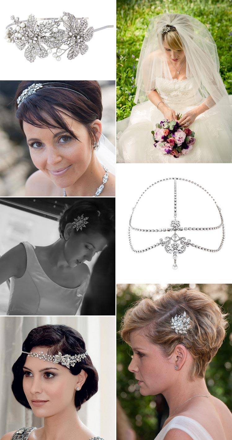 Beautiful hair accessories for brides with short hair