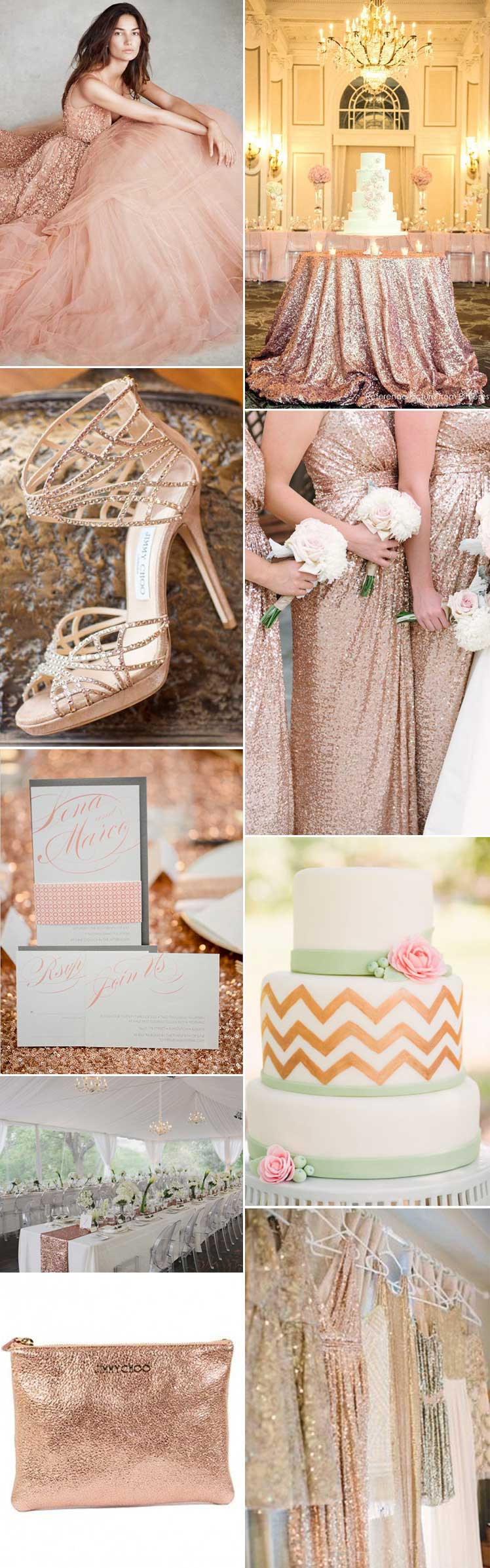 Romantic and pretty rose gold wedding ideas