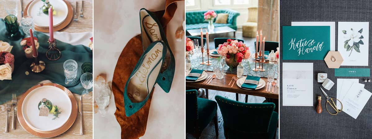 Teal and Rose Gold Wedding inspo