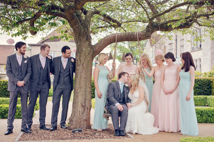Caroline and Ian with their wedding party