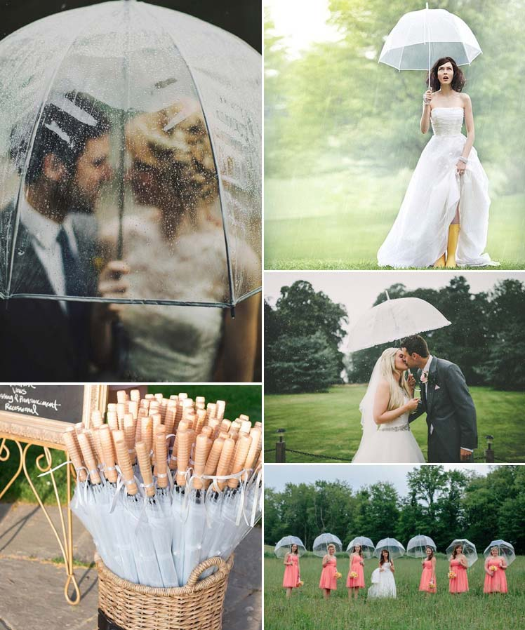 umbrellas on a rainy wedding day