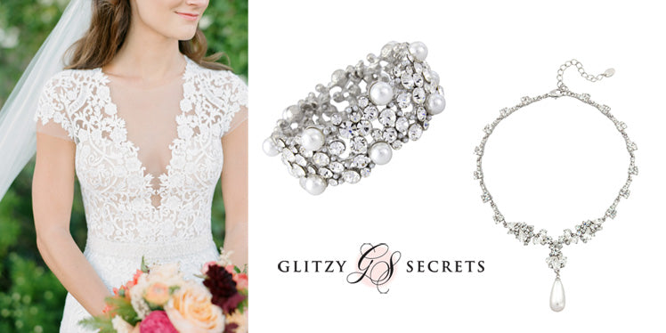 Accessories to complement a v-neck wedding dress