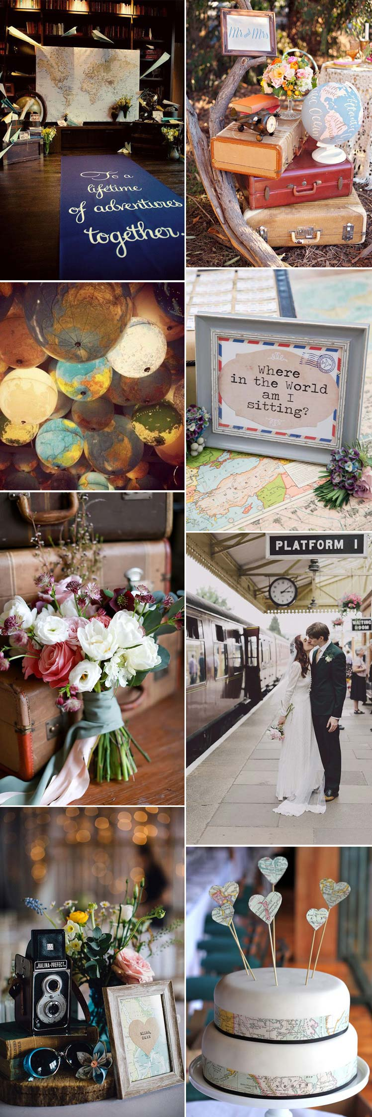 Explore vintage travel as a wedding theme