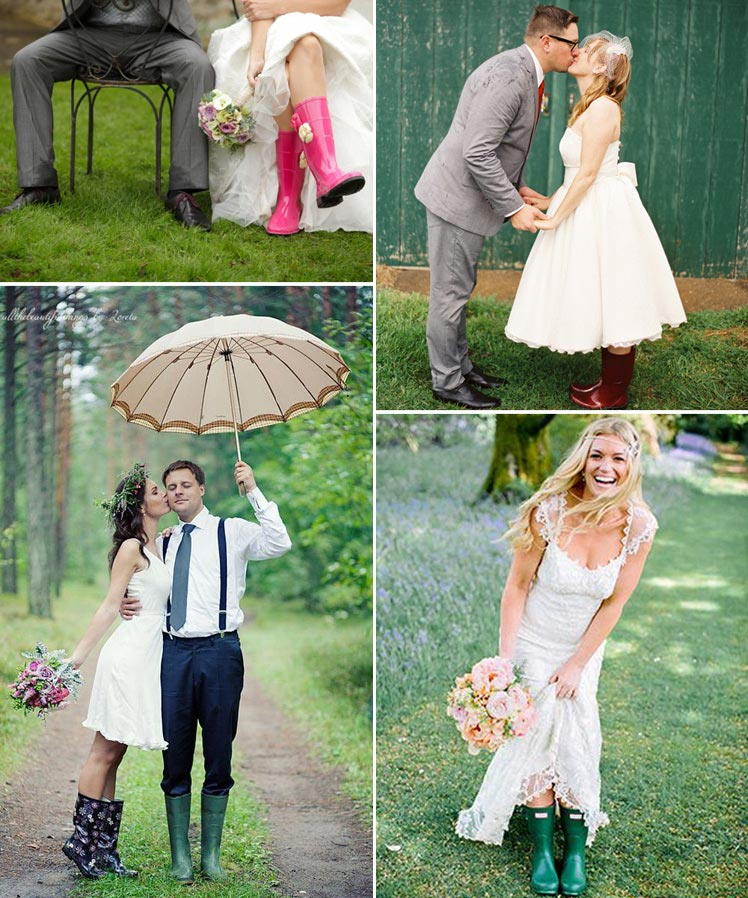 choose wellies for a rainy wedding day