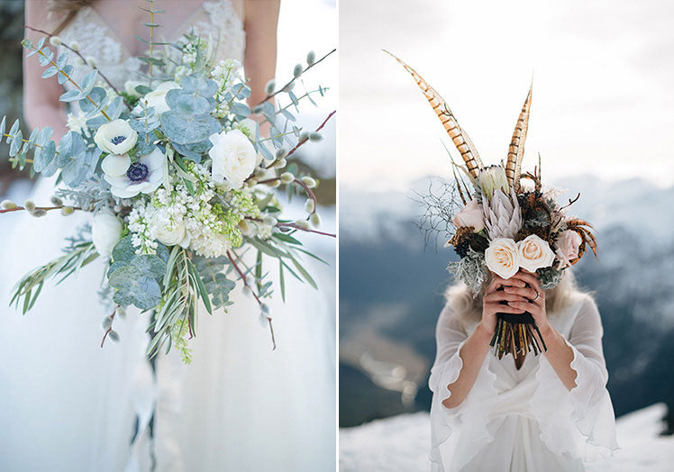 Sage green and pheasant feather winter bouquets
