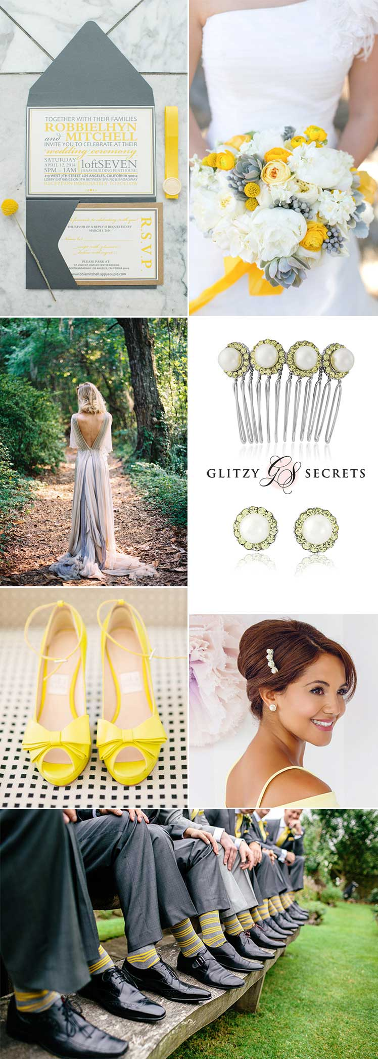 Grey and yellow theme wedding ideas and inspiration