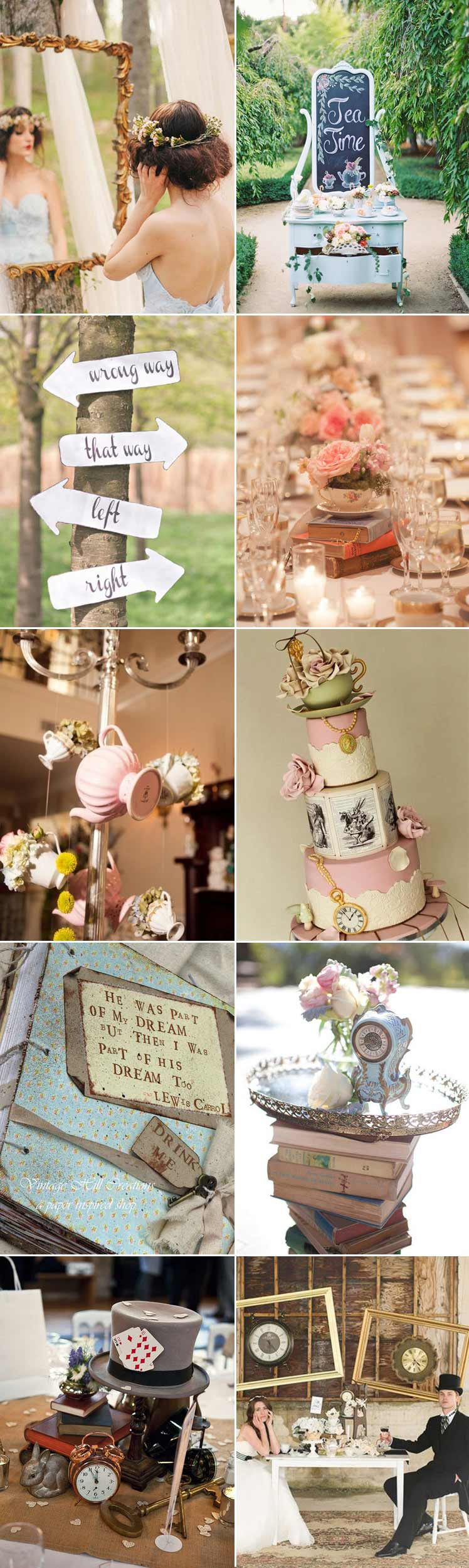 Inspiration for an Alice in Wonderland wedding day