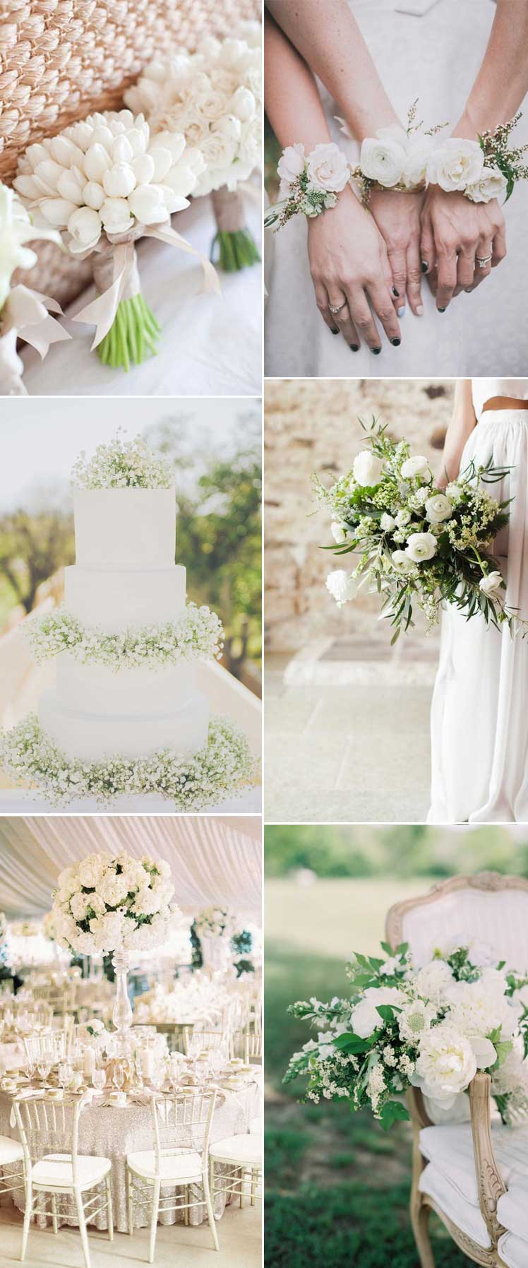 choose all white flowers for a spring wedding