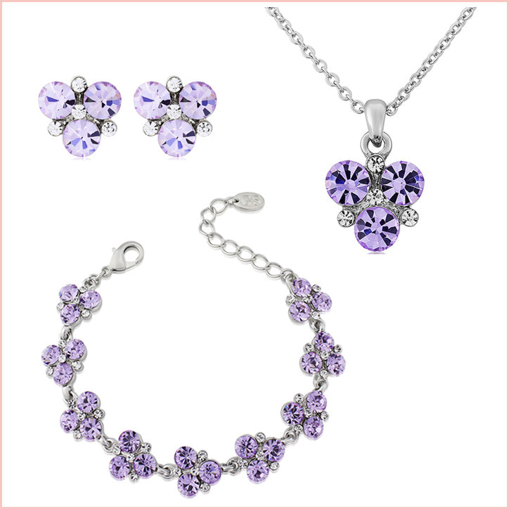 Sparkling amethyst and purple bridesmaid accessories