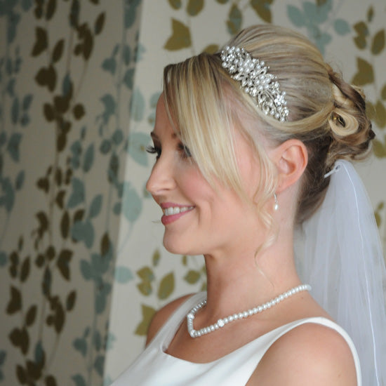 Amy wears Heirloom of Pearl Side Tiara by Glitzy Secrets