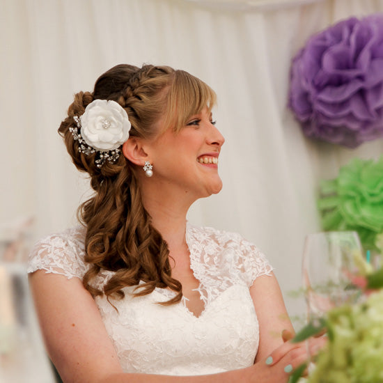 Amy wears Timeless Petals Hair Flower & Posies and Pearls Earrings by Glitzy Secrets