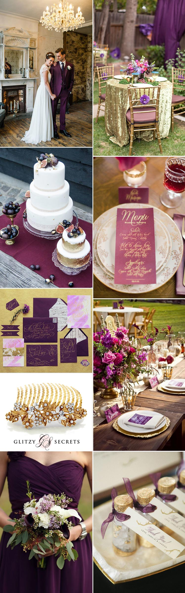 sensational plum and gold wedding theme