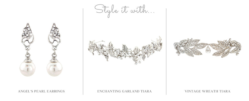 Glitzy Secrets' Angel's Pearl Earrings, Enchanting Garland Tiara and Vintage Wreath Tiara