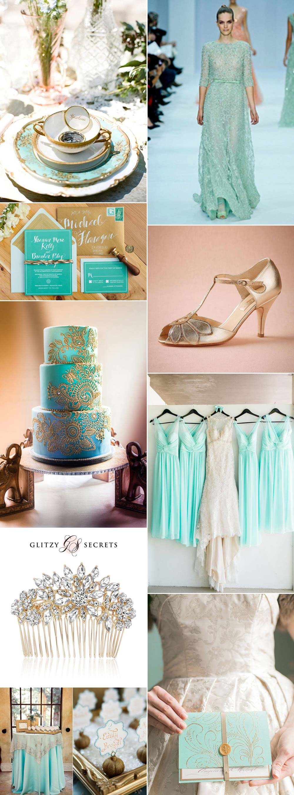 fabulous aqua and gold wedding ideas