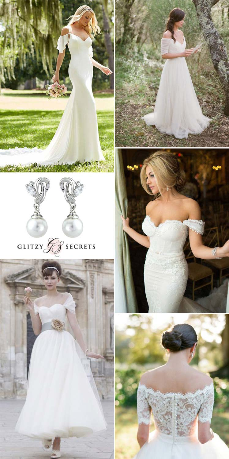 gorgeous bardot style wedding dresses