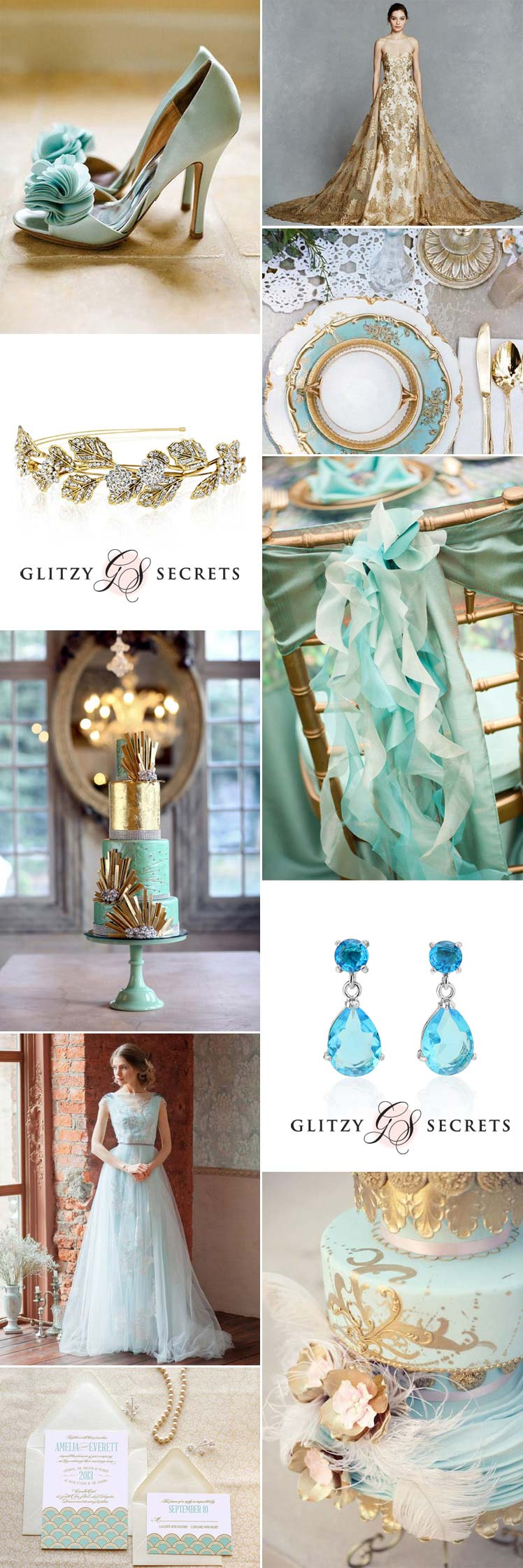 aqua and gold wedding inspiration