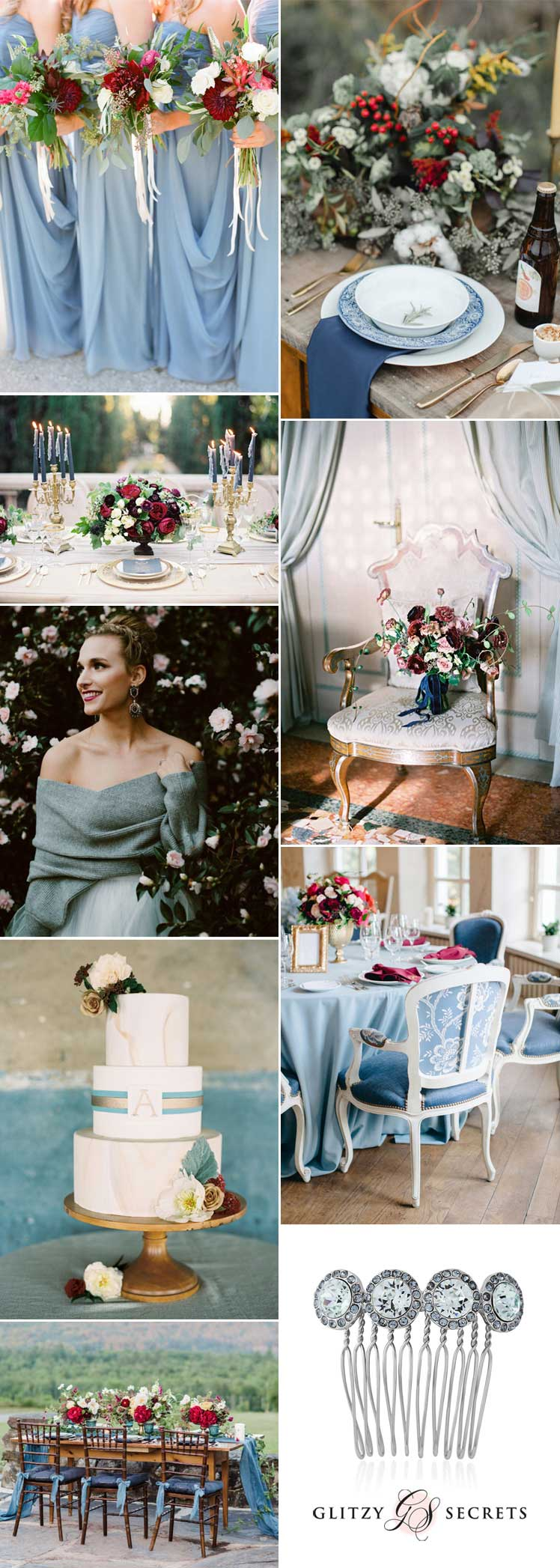 Blue and burgundy wedding inspiration