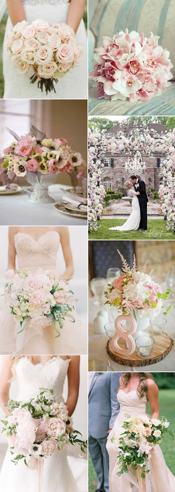 pretty blush wedding flowers