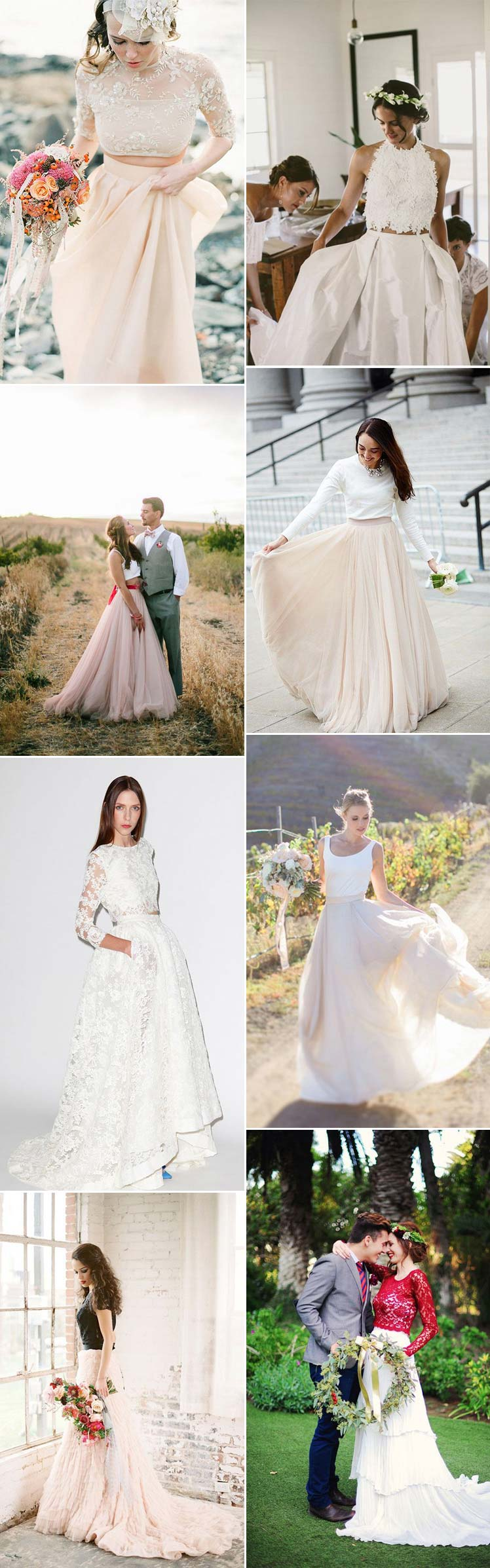 stunning skirt and top ideas for your bridal style