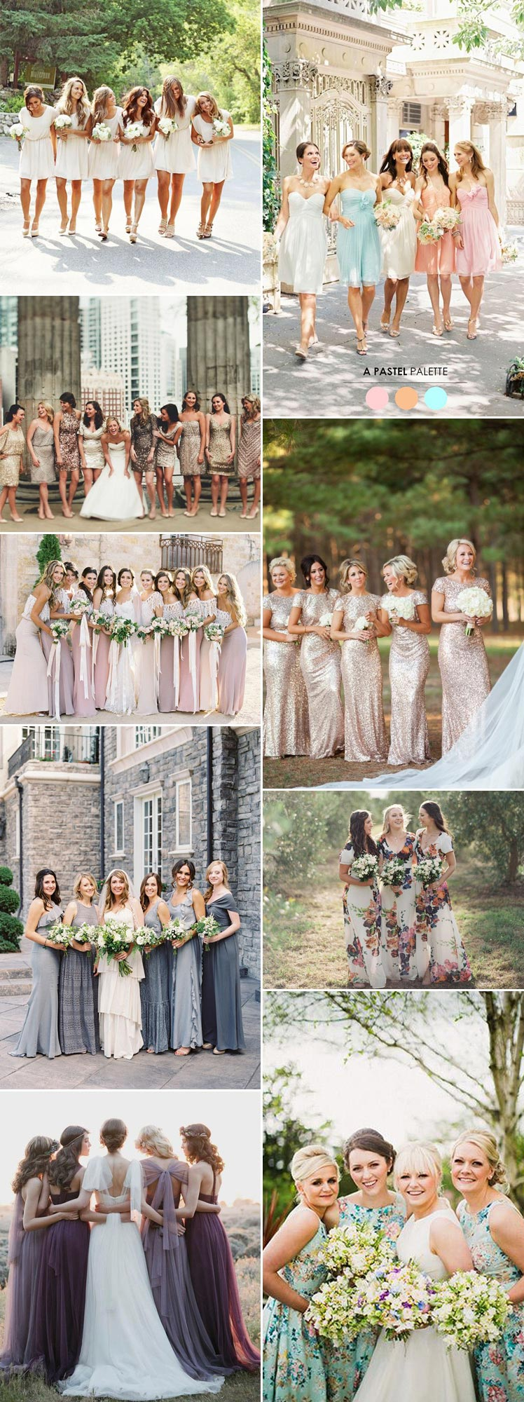 Metallics, florals, mismatched - an array of bridesmaid styles