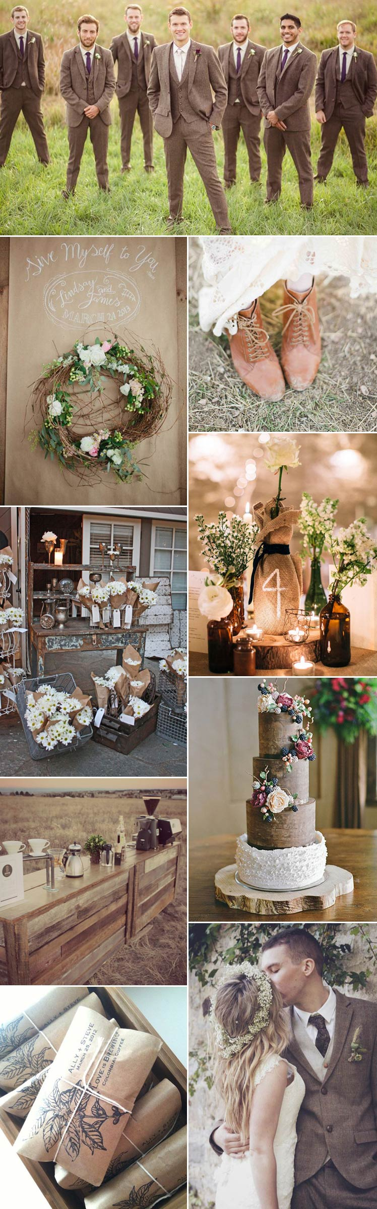 explore coffee and cream for a wedding theme