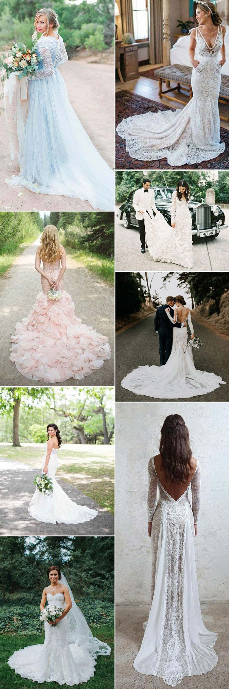 Elegant wedding gowns with trains