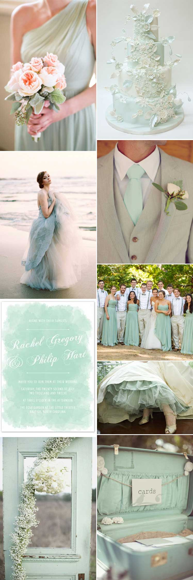 Beautiful inspiration for a seafoam wedding theme