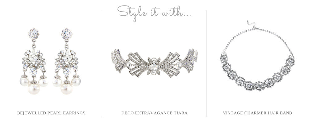 Style it with Bejewelled Pearl Earrings, Deco Extravagance Tiara and Vintage Charmer Hair Band