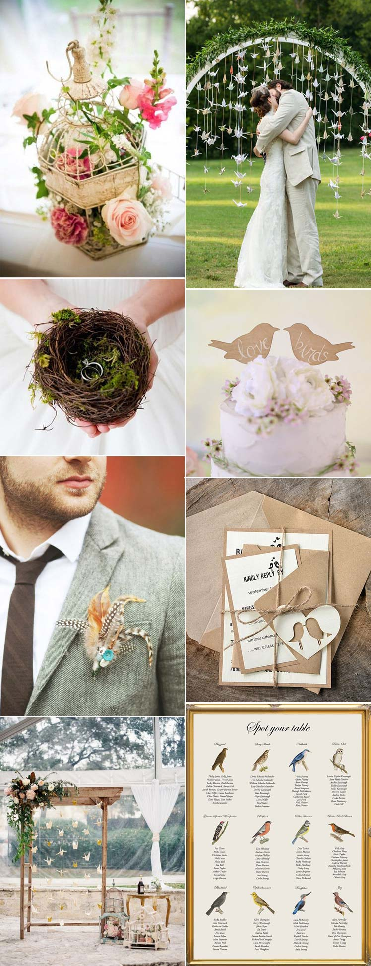 Beautiful bird theme wedding ideas