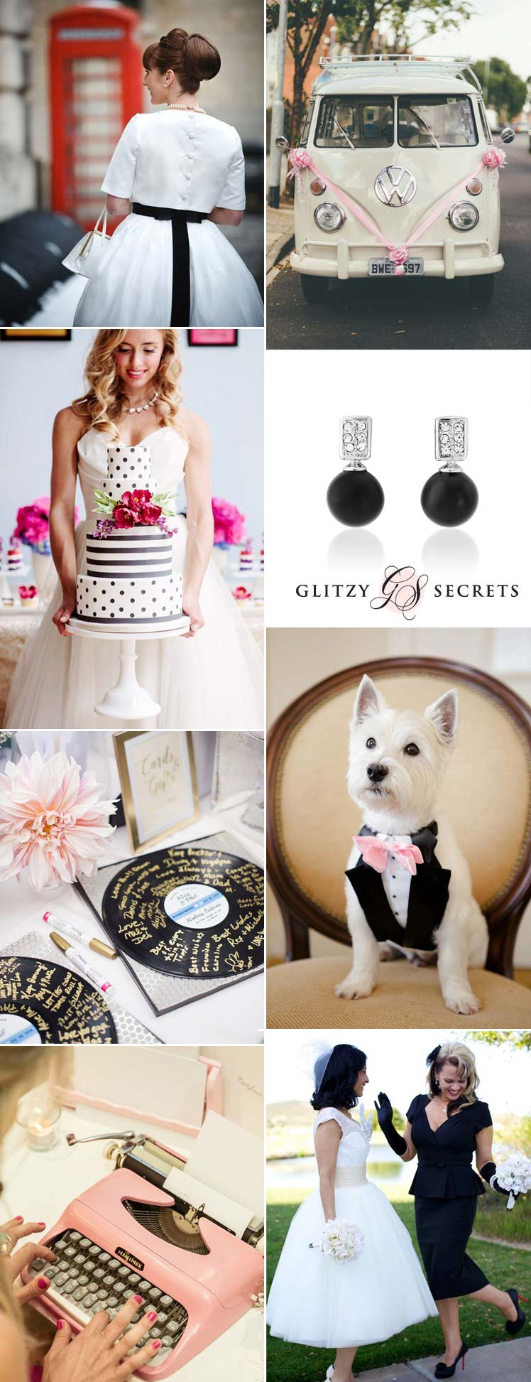 Retro black and white wedding inspiration with a hint of pink