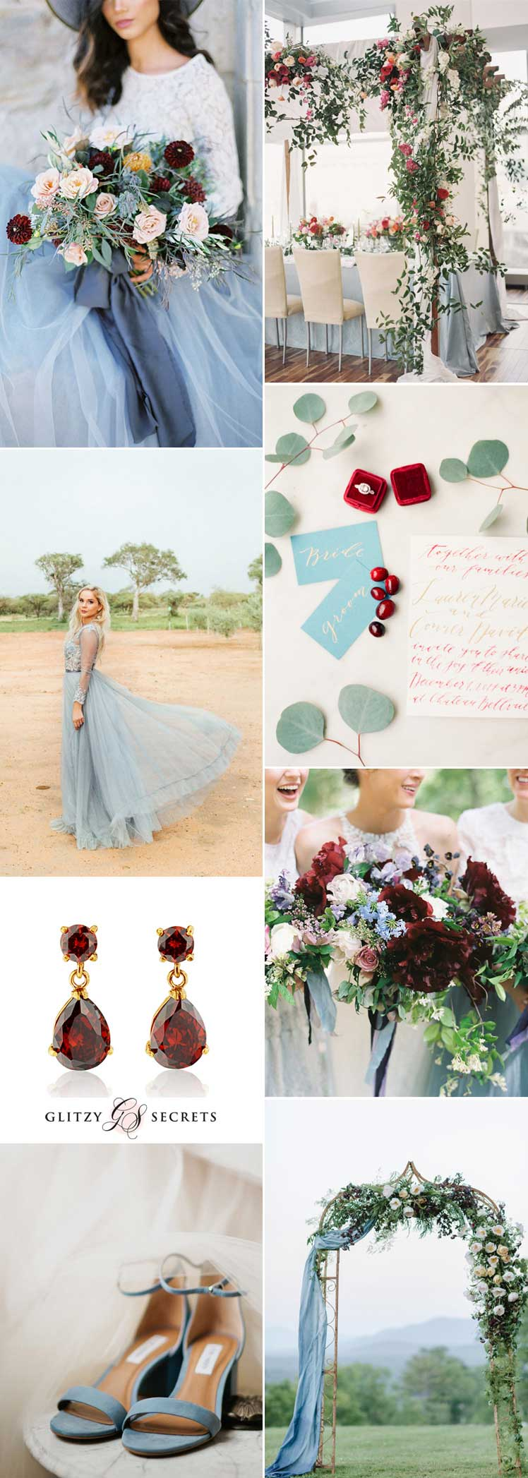 Burgundy and blue wedding colour scheme ideas