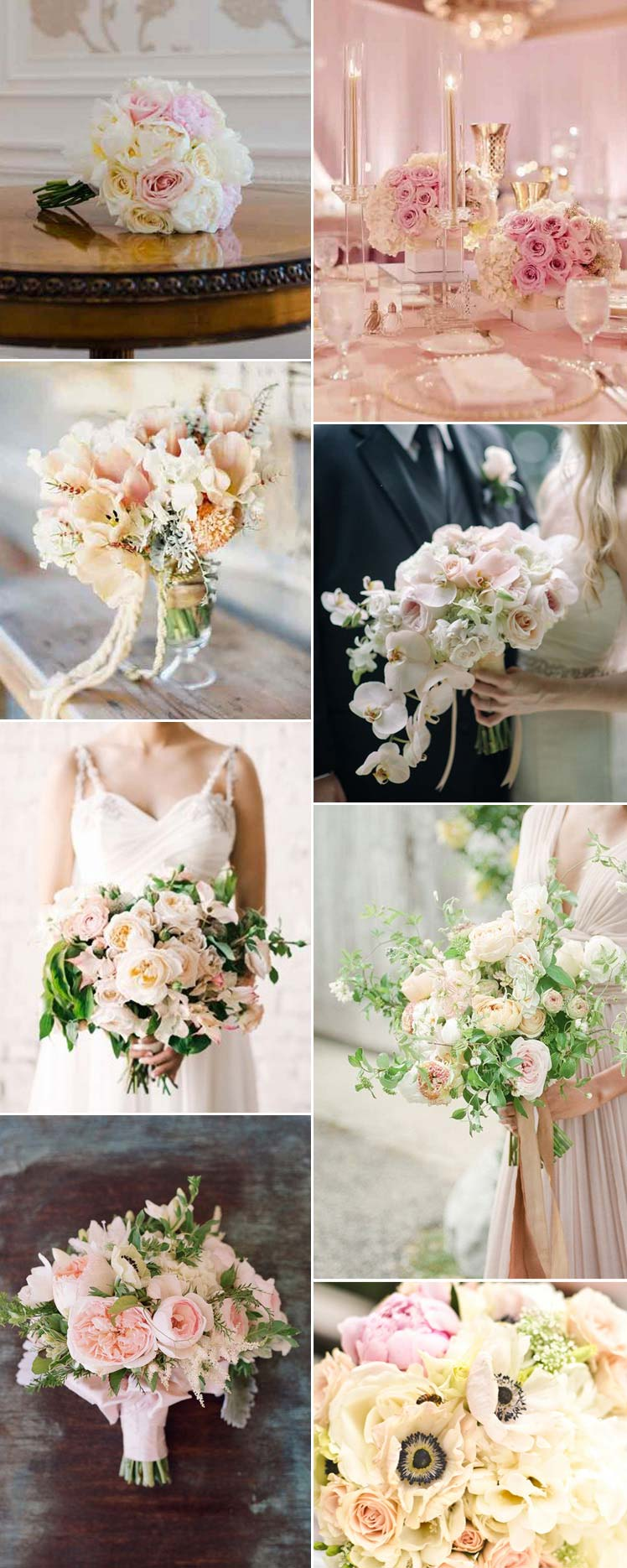 Inspiration for blush bridal bouquets