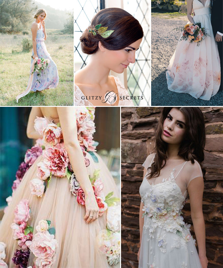 beautiful boho and textured floral wedding dresses