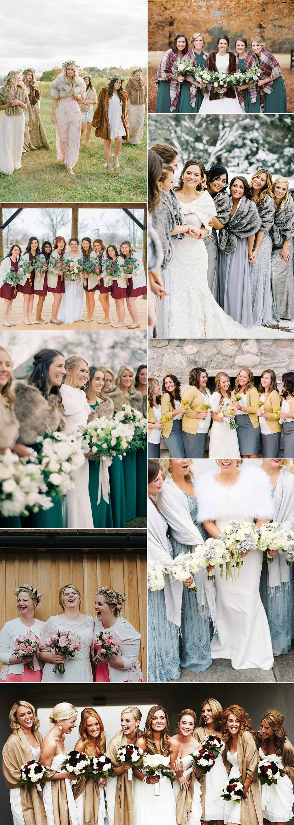 Ideas for stylish bridesmaid wraps and capes