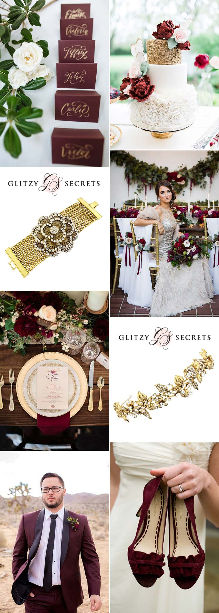 beautiful burgundy & gold wedding ideas
