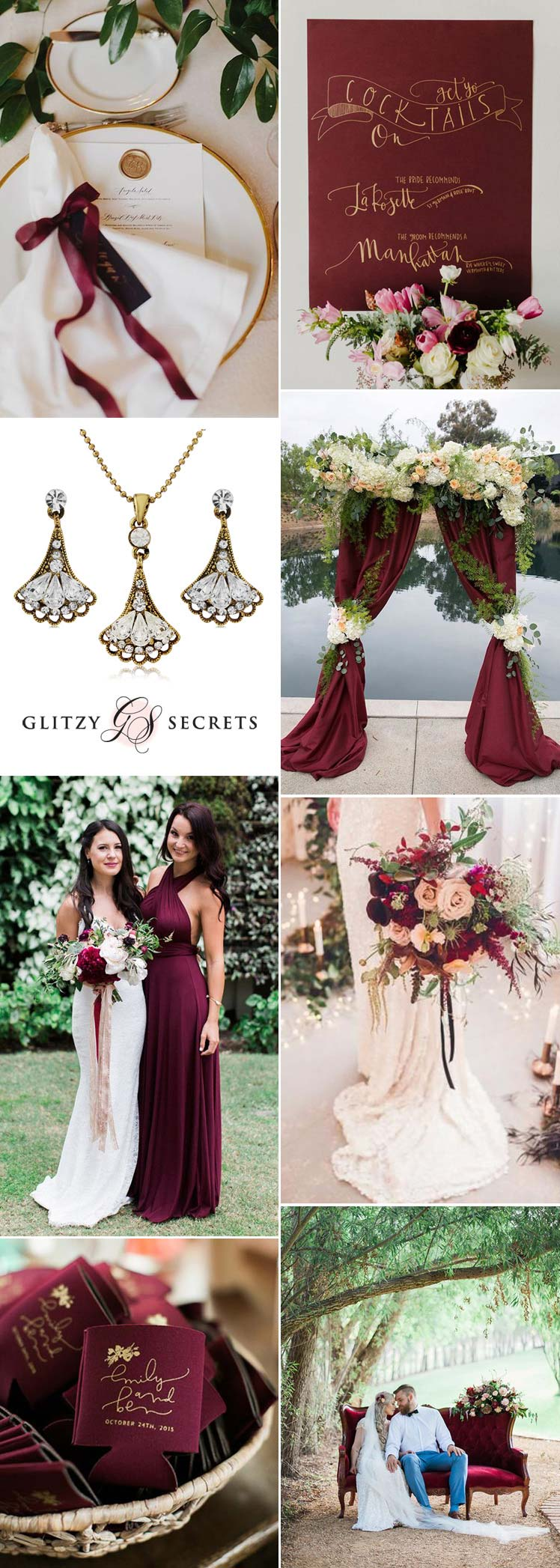 Burgundy and gold wedding theme inspo