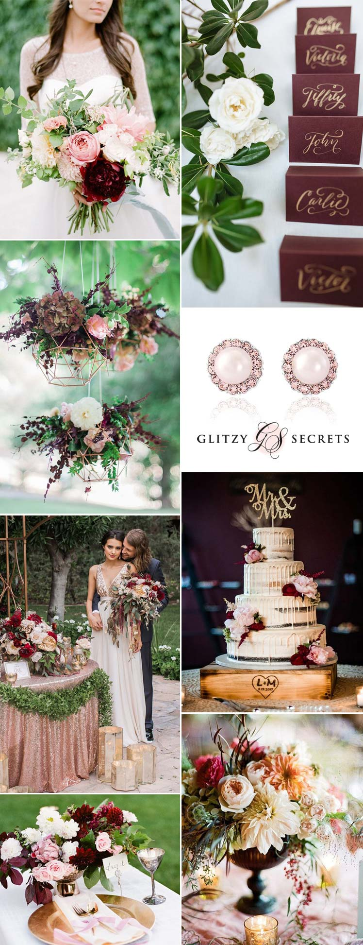 Ideas for a blush and burgundy wedding theme