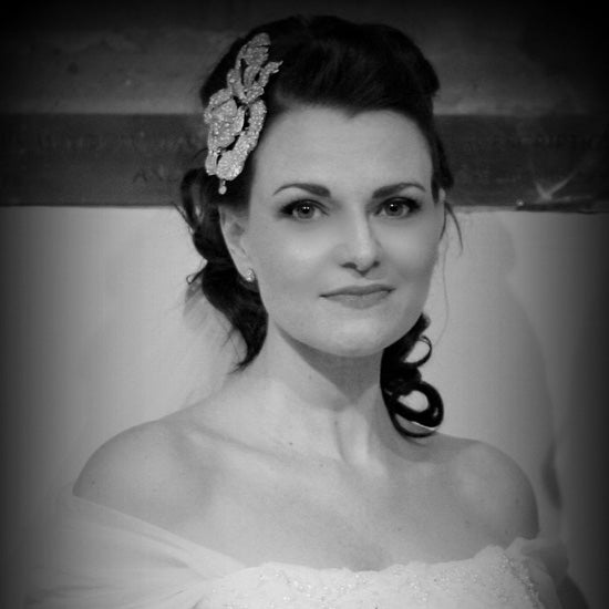 Caroline wears Rose of Extravagance Side Tiara and Eternal Elegance Earrings by Glitzy Secrets