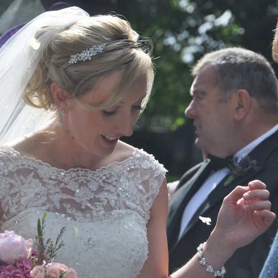 Catriona wears Garland of Pearls Headband by Glitzy Secrets