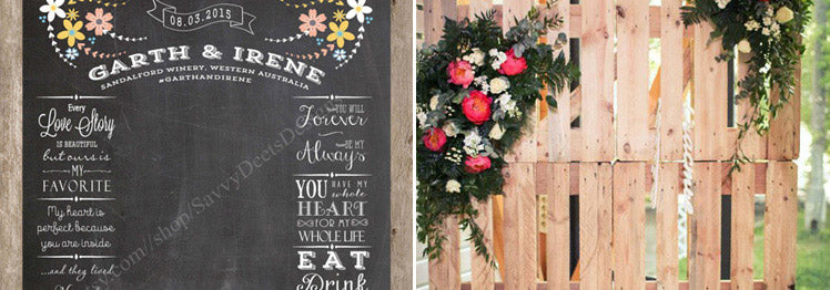 Wedding photo booth with chalkboard and rustic crate