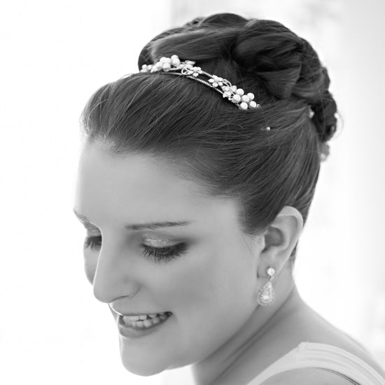 Charlotte wears Posies of Pearls Head Band by Glitzy Secrets