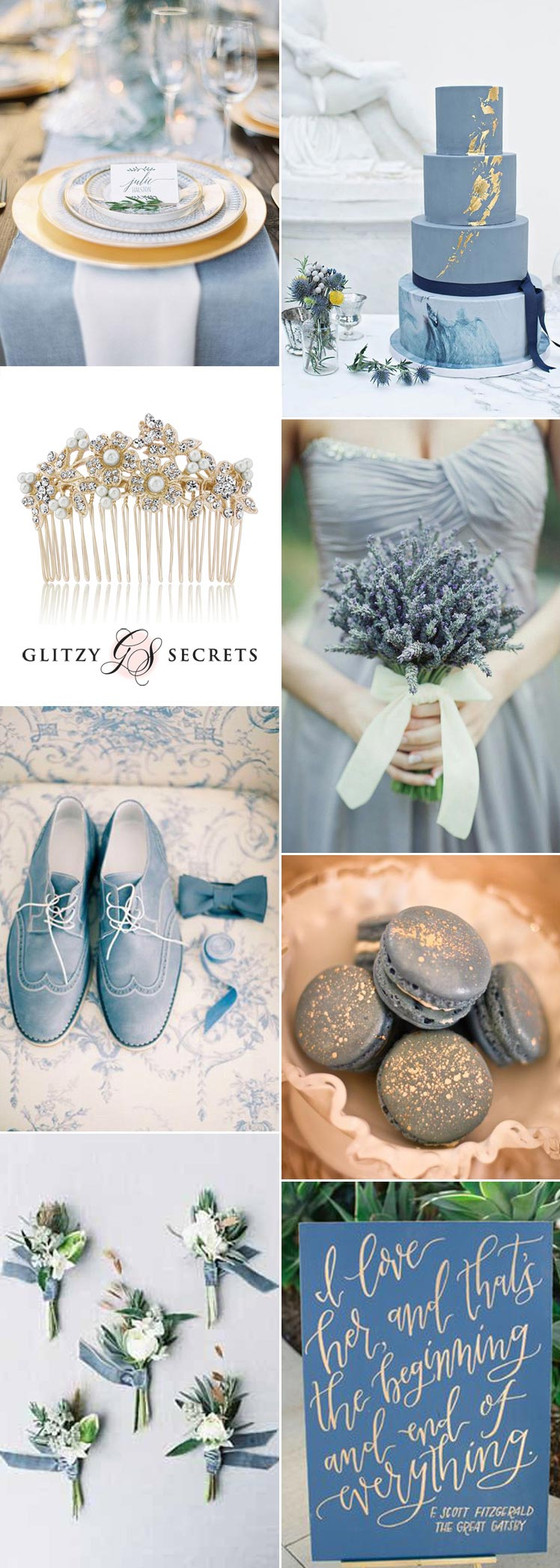 fabulous dusky blue and antique gold wedding inspiration